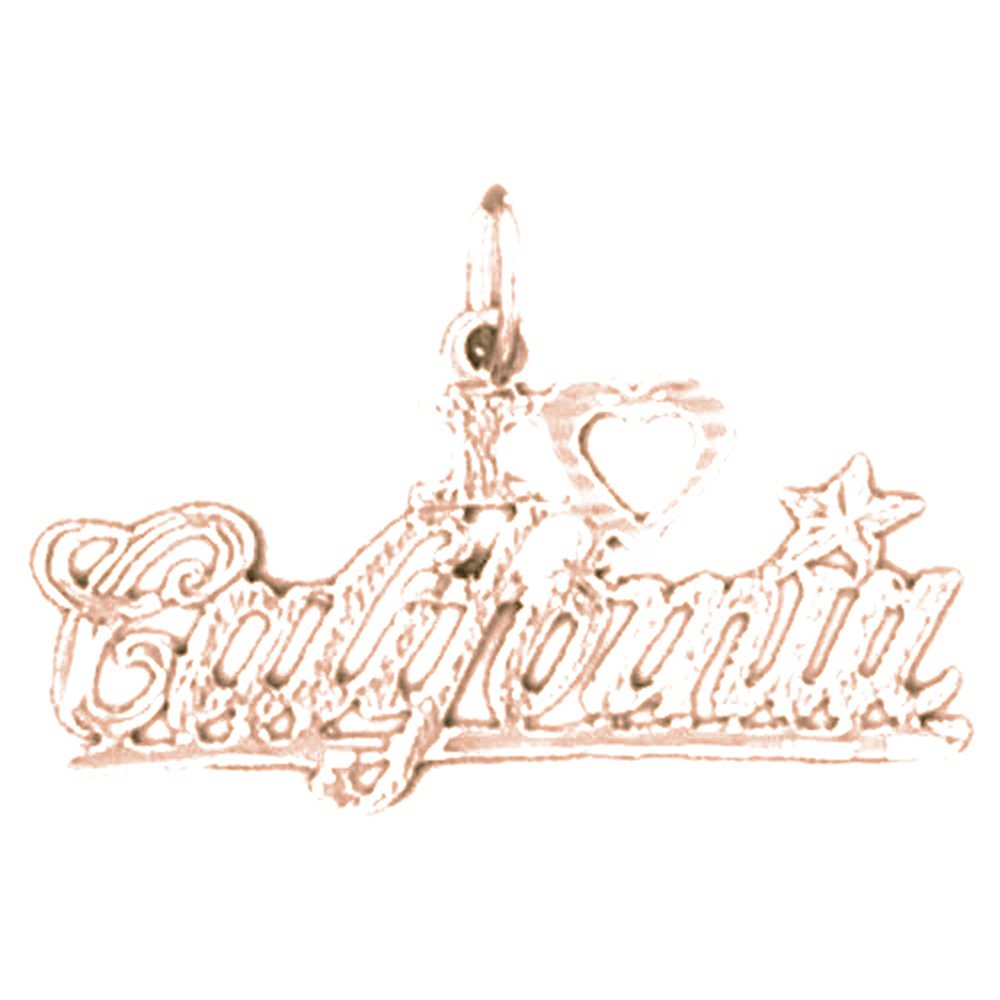 Jewels Obsession I Love California Necklace 14K Rose Gold-plated 925 Silver I Love California Pendant with 16 Necklace