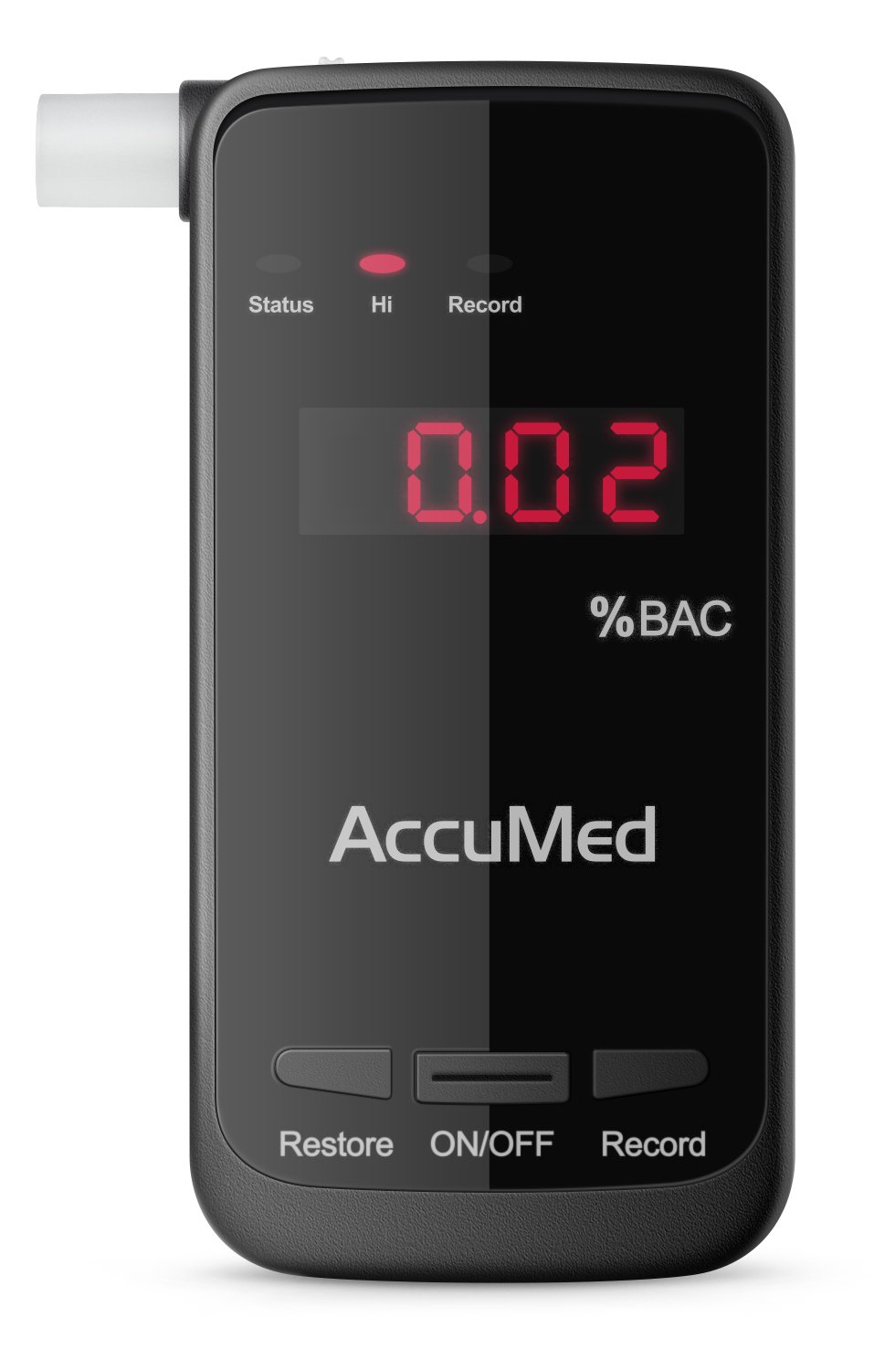 AccuMed Professional Blood Alcohol Breath Tester Breathalyzer w/LED Display - Measures Blood Alcohol Content in Seconds (BAC-180)
