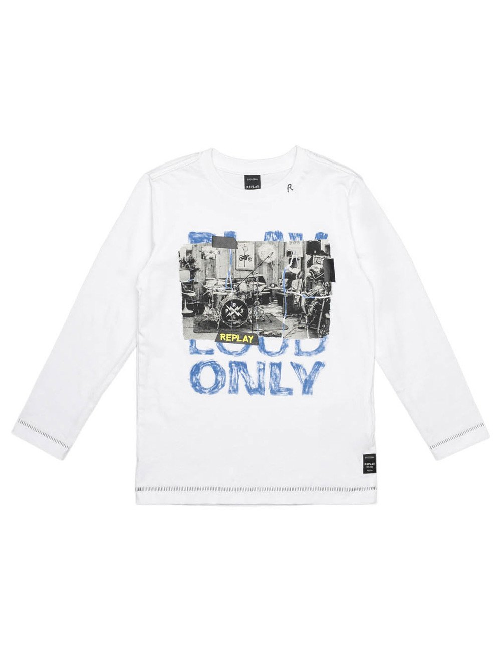 Replay Boy's White Long-Sleeved T-Shirt With Print in Size 10 Years White