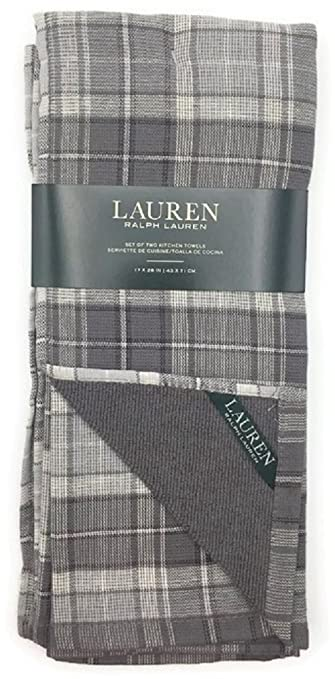 Lauren By Ralph Lauren Grey Plaid Kitchen Towels   Set Of Two