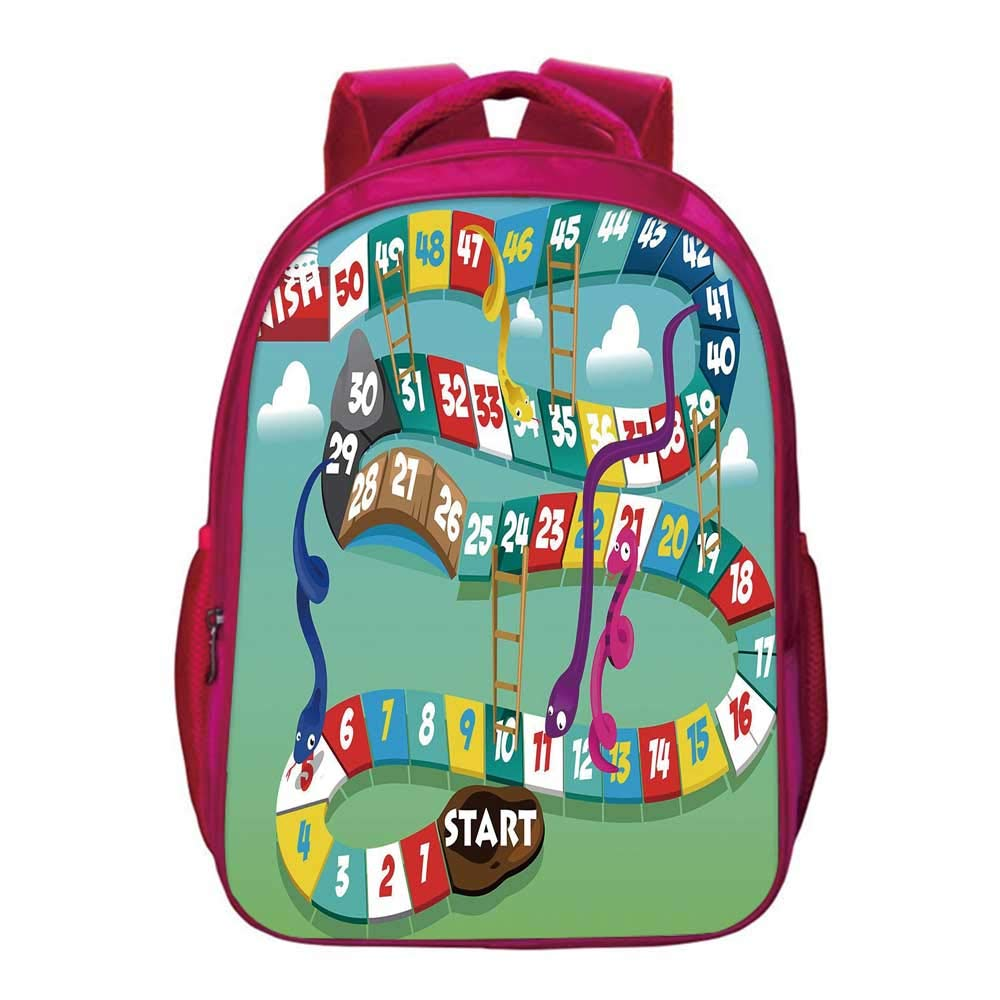 Board Game Kids Bookbag,Swirled Snakes and Ladders Start and Finishing Line Clouds Crown Winner Childish Decorative for Kids Girls,11.8''Lx6.3''Wx15.7''H by YOLIYANA