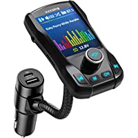 """VicTsing[Upgraded PD Quick Charge] FM Transmitter, 1.8"""" Color Screen Bluetooth Car Transmitter, Wireless Radio Adapter with 3 USB Ports, Hands-Free Calls, Power Off, 5 EQ Modes, 4 Music Playing Mode"""