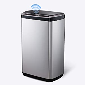 SANIWISE Automatic Sensor Trash Can with Lid 50 Liter, 13 Gallon Stainless Steel Garbage Bin Powered by Batteries (not Included) for Kitchen, Office, Home - Silent and Gentle Open and Close