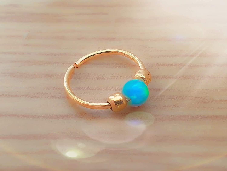 Minmalist Earrings Blue Opal Huggie Earrings- Lobe Snug Hoop Earring- Gold Hoop Earrings Gold Hoop Earrings for women Dainty Hoop Earrings for Lobe
