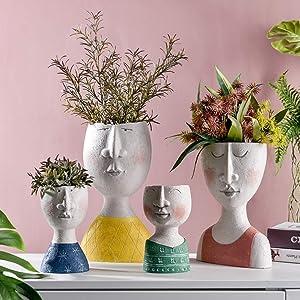 l.e.i. Family Statue Planter,Head Bust Statue Plant Pot,Creative 4 Pack Home Decor Art Sculpture Planter with Drainage Hole,No Plant Happy Home