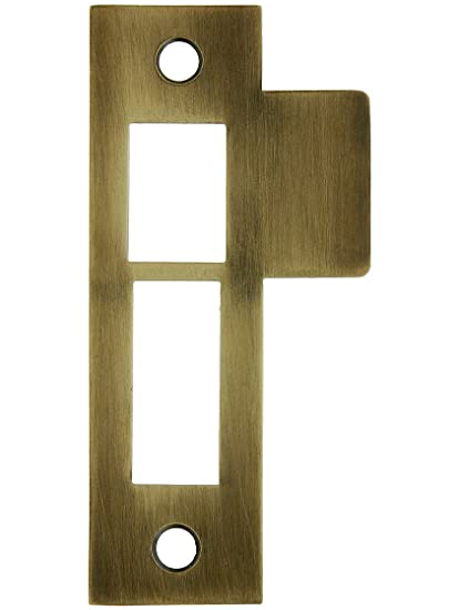 3 1/2 Solid Brass Mortise Strike Plate In Antique Brass - 3 1/2 Solid Brass Mortise Strike Plate In Antique Brass - Door Lock