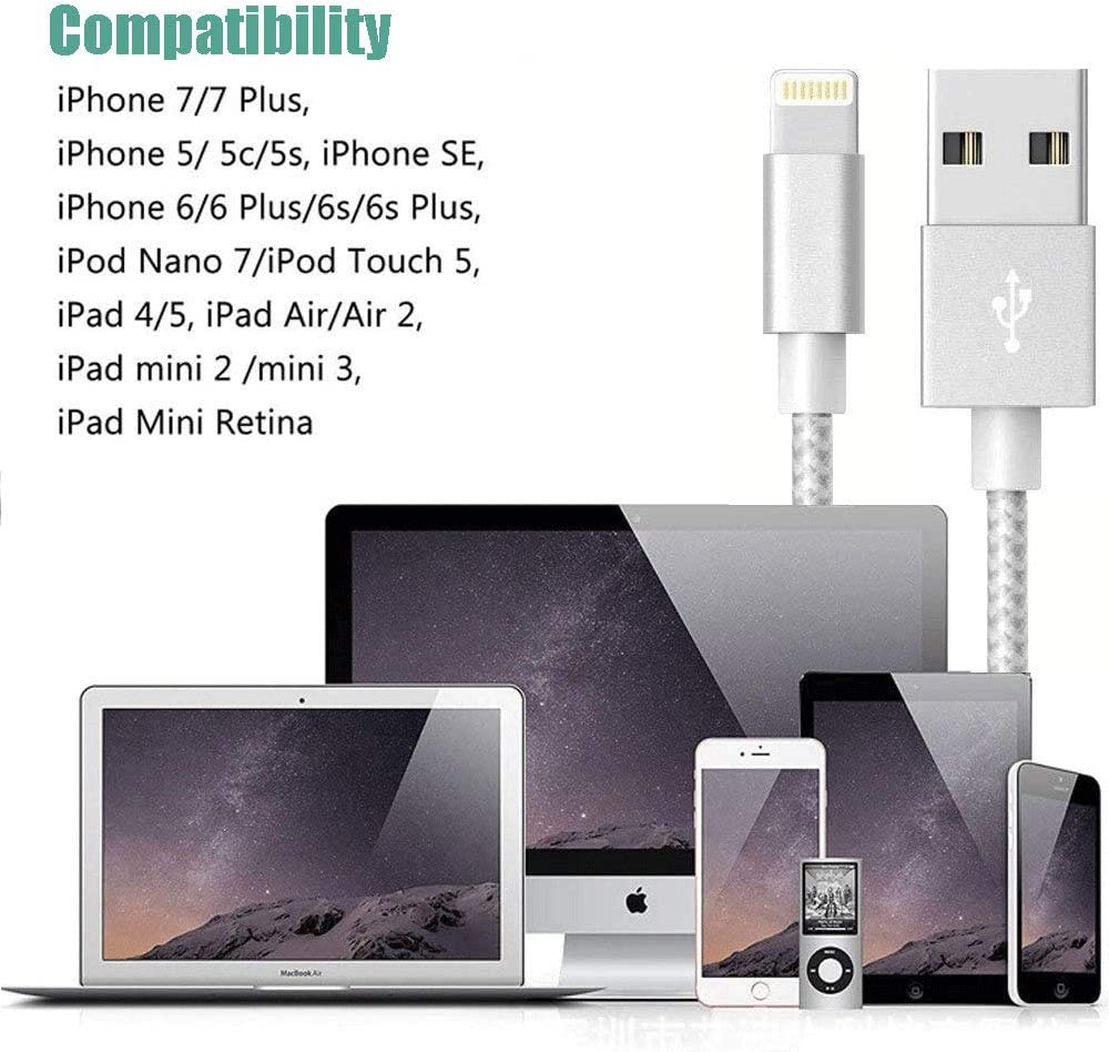 Apple MFi Certified iPhone Charger Apple Lightning Cable iPhone Charger Cable USB Lightning Cable Wire for iPhone 11 Pro MAX X XS XR 8 7 6 Plus SE iPad iPod car Cord Fast Accessories Chargers Cable