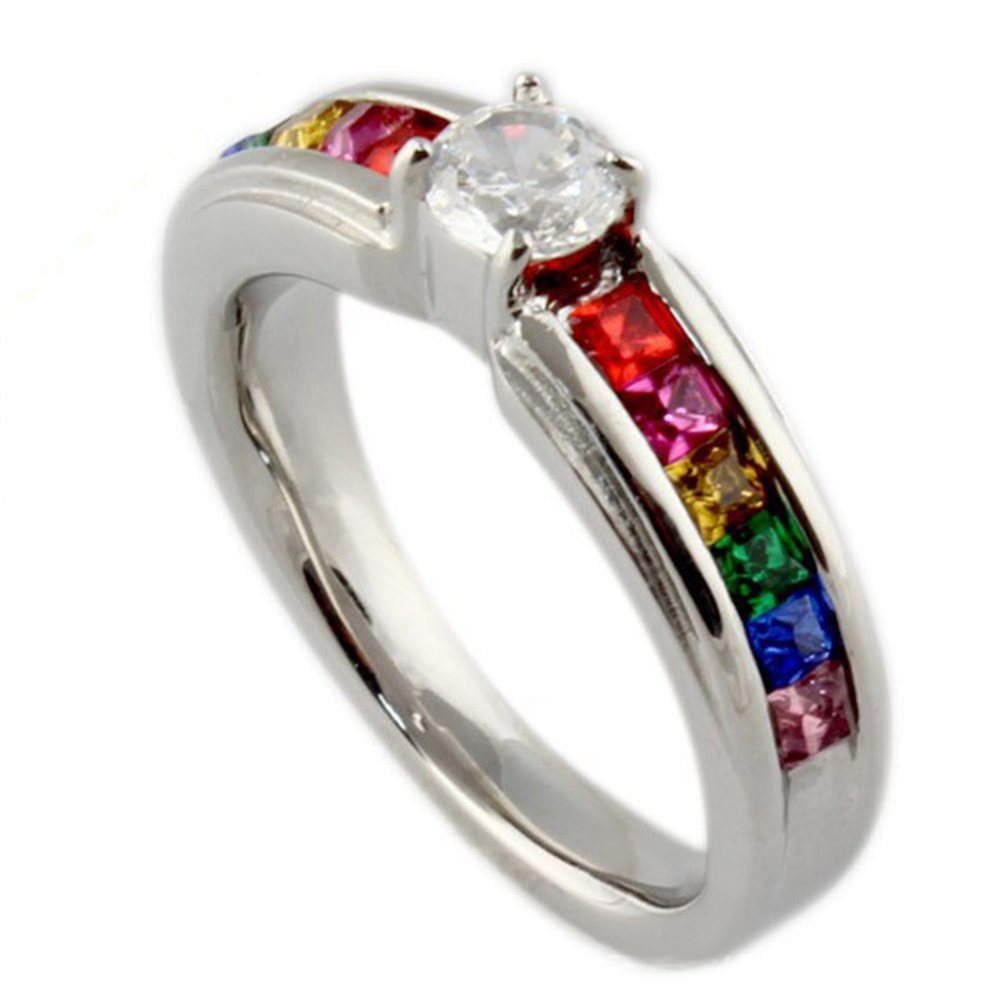 Stainless Steel Rainbow Crystal Ring with White Cubic Zirconia for Gay Lesbian Pride Wedding Band Vnox Jewelry PR--008