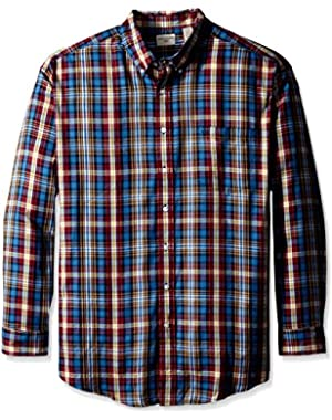 Men's Big-Tall Dark Blue Plaid Twill Solid Button Down Collar Shirt