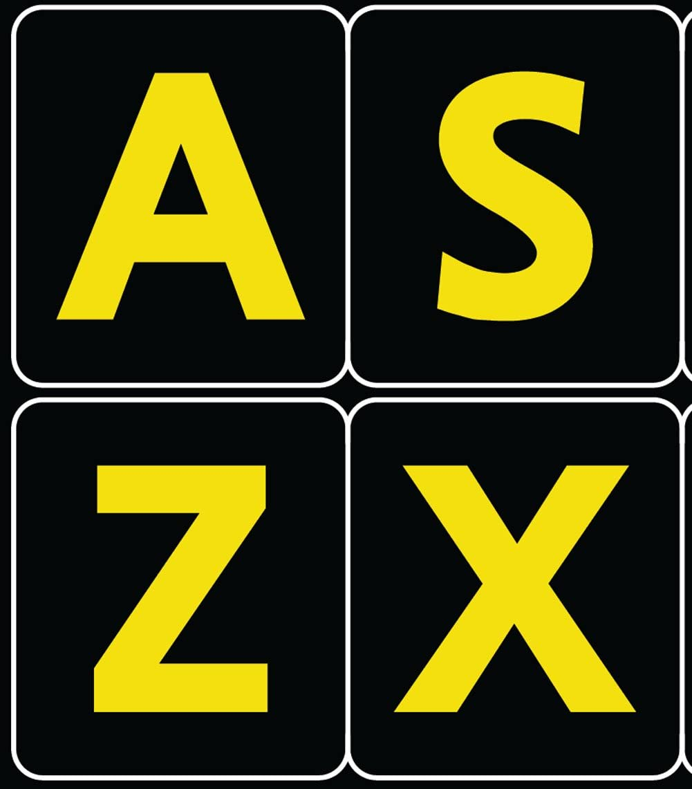English US Large Letters Black - Yellow Letters Keyboard Stickers