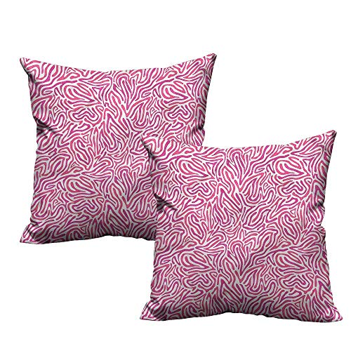 (HeKua Pink Zebra,Decorative Pillowcase Curvy Lines Funky 18