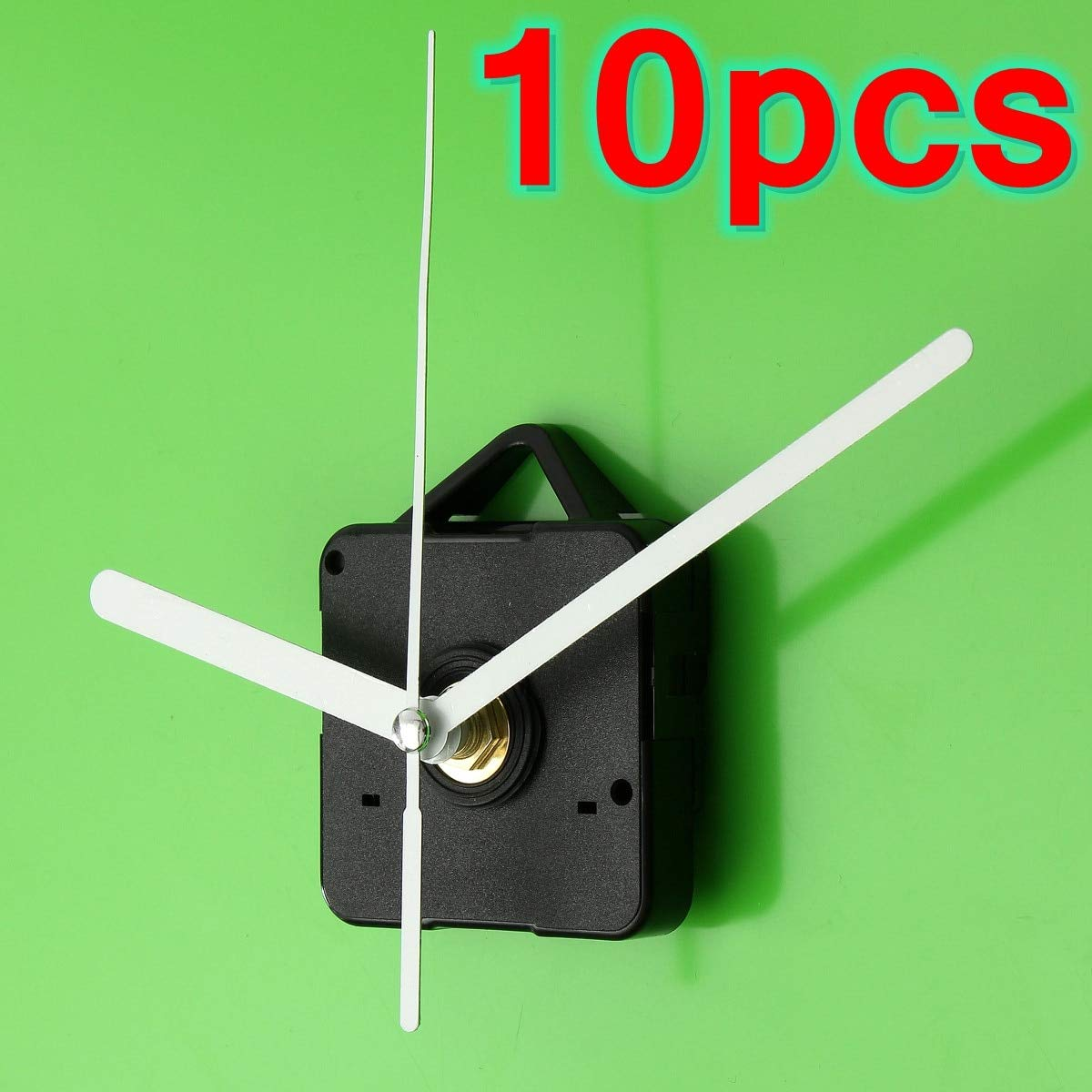 Maslin 10 PCS Durable DIY White Hands Silent Quartz Wall Clock Movement Repair Parts Quiet Silent Mode Plastic & Aluminum - (Brand: New)