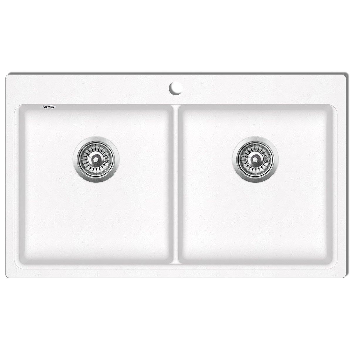 vidaXL Granitspüle Beige Einzelbecken Küchenspüle Spülbecken Einbauspüle Spüle