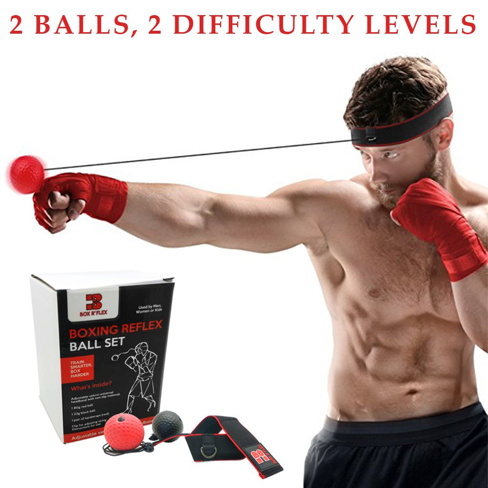 Reflex Boxing Ball by Box R' Flex: Punching Ball Headband For Reflex & Strength Training, Speed &Reaction Increase, Hand Eye Coordination Exercises, For Men & Women -With Hand Wraps & Carrying Bag