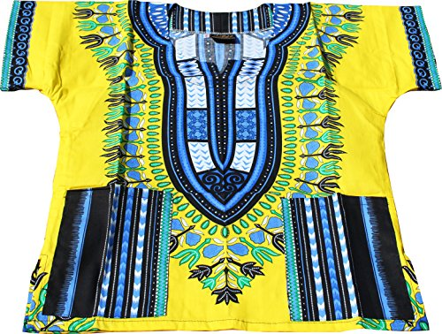 T-shirt Yellow Bold - Raan Pah Muang RaanPahMuang Unisex Childrens African Dashiki Throw Over Bold Print Boubou Shirt, 8-10 Years Tall, Bold Yellow