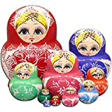 LK King&Light - 10pcs Red_White Flower Russian Nesting Dolls Matryoshka Wooden Toys