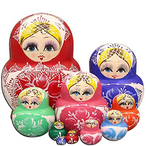 LK King&Light - 10pcs Red_White Flower Russian Nesting Dolls Matryoshka Wooden -
