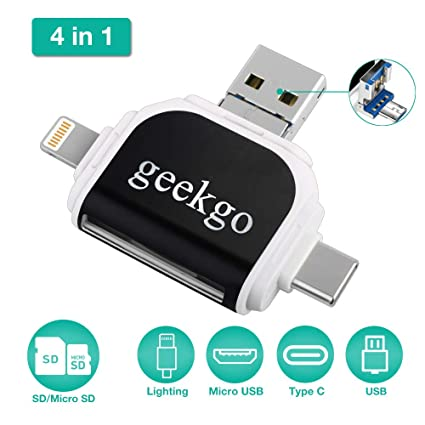 geekgo Micro SD Card Reader Compatible with iPhone/Android  Phone/iPad/Computer/Laptop/Mackbook/Surface,SD Card Adapter for Micro  USB,USB C,Type