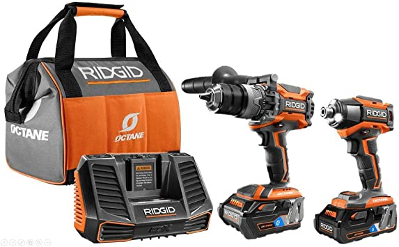 Ridgid 18v Octane Lithium Ion Cordless Brushless Combo Kit With Hammer Drill Impact Driver 2 Octane Batteries Charger Amazon Com