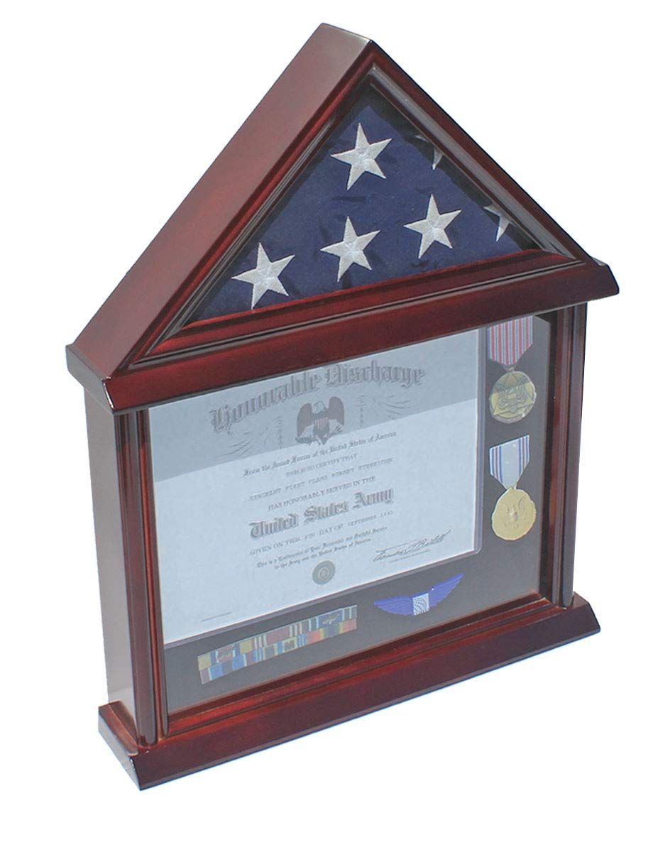 Flag Display Case Shadow Box Frame for 3 X5 U.S. Flag Not for Funeral or Memorial Size Flag Mahogany Finish