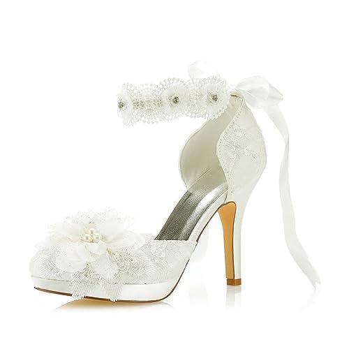 94842891f6 Mrs Right 3703L Women's Bridal Shoes Closed Toe Stiletto Heel Lace Satin  Platform Pumps Satin Flower