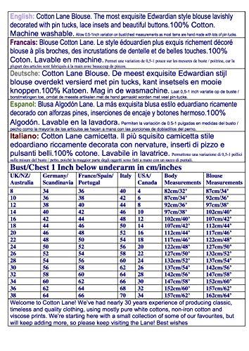 Cotton Negro Blusa Steampunk Estilo Lane Larga Color Manga De ZrZwg7