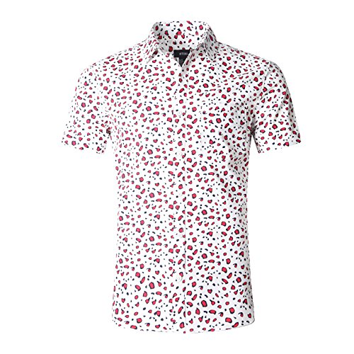 Patterned Linen Shirt - NUTEXROL Men's Special Print Casual Shirt Short Sleeve Cotton Shirts(Red,S)