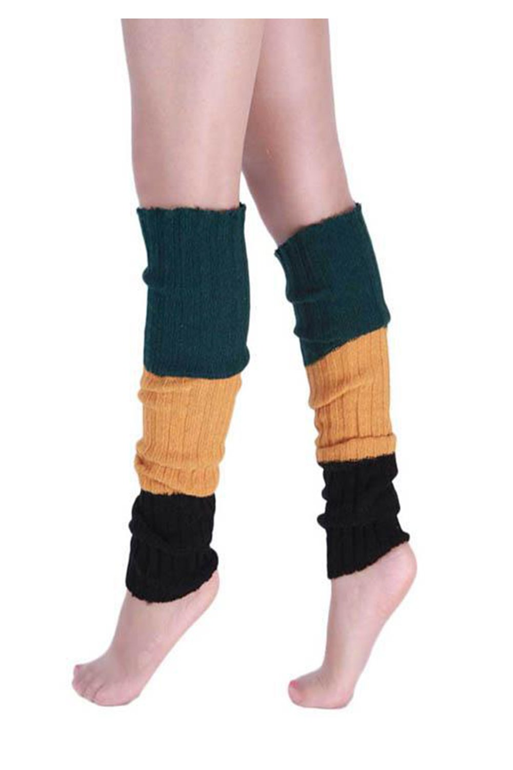 YACUN Women's Winter Cold Weather Color Block Knit Leg Warmers Coffee F CAOK1111Coffee_F