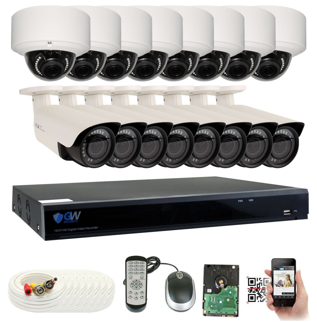 GW Security 16CH Plug Play 5MP DVR 1920p CCTV Security System, 8 Bullet 8 Dome 5-Megapixel 2592TVL Weatherproof 2.8 12mm Varifocal Home Surveillance Camera System 4TB HDD, QR-Code Easy Setup