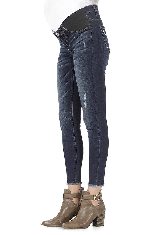 KanCan Maternity Stretch Waist Band Jeans Distressed Skinny Jeans Dark Wash KC5160D