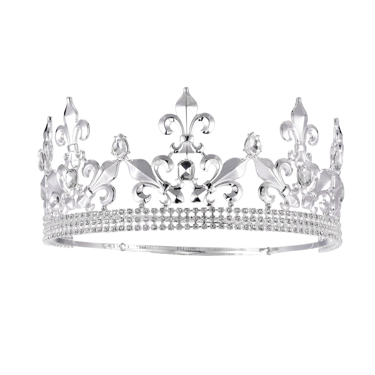 SSNUOY Adjustable Full Round Imperial Medieval Tiara Fleur De Lis King Crown Silver Finish by S SNUOY