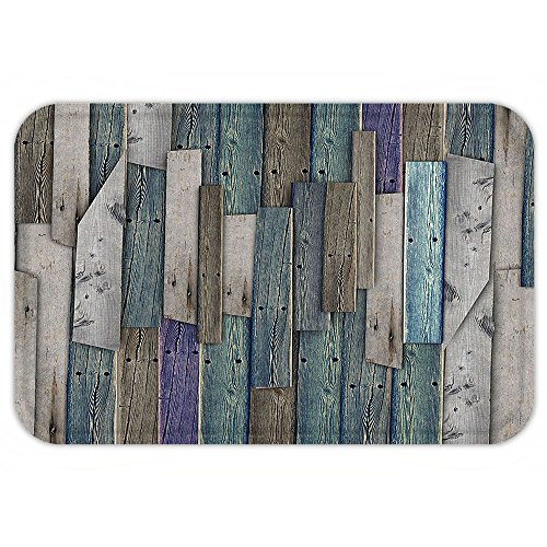 Kisscase Custom Door MatWooden Blue Grey Grunge Rustic PlankBarn House Wood and NailLodge Hardwood Graphic Print Decor Teal Purple Grey (Halloween Connect The Dots Hard)