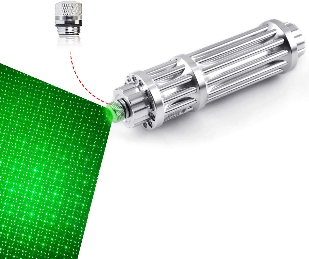 FreeMascot Handheld Green Light Focusable Flashlight with Gift Star Patterns Cap Best for Camping, Astronomy, Hunting, Hiking and Field Survival (Silver)