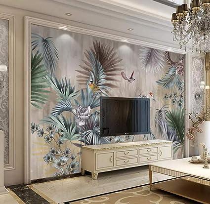 Classical Art Mural Plant Leaves Retro Living Room Sofa TV ...