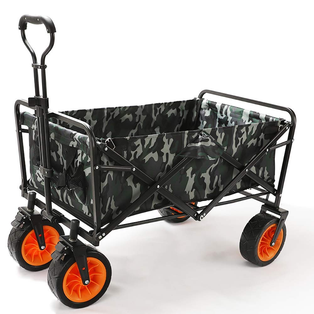 Li hand-trucks LWOO Folding Garden Cart Beach Shopping Cart/Mass Storage/Widening Tire + Brake/Load: 80 Kg/War Wolf Color (Color : War Wolf Color) by Li hand-trucks