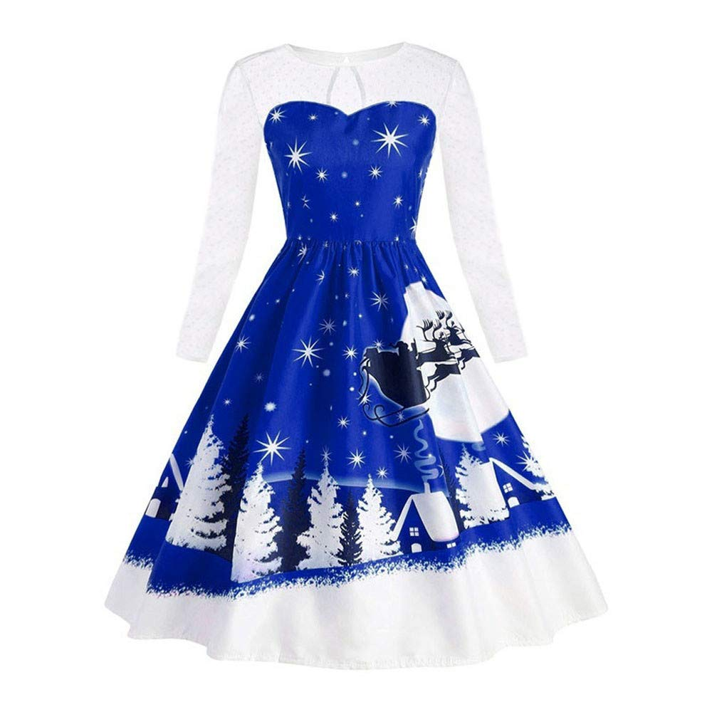 POTO Halloween Dresses for Women, Ladies Vintage Gown Lace Patchwork Printed Evening Party Dress Prom Swing Dresses