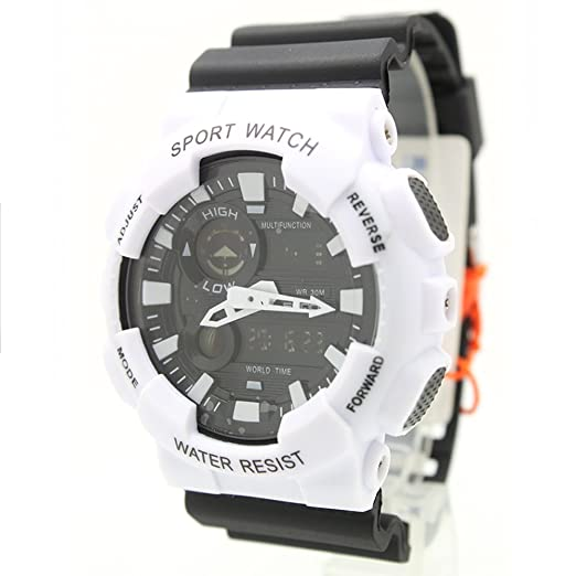 besttime Digital/analógico hora mundial reloj blanco/negro Color correa de caucho para hombres de las mujeres de niño y niña de la: Amazon.es: Relojes