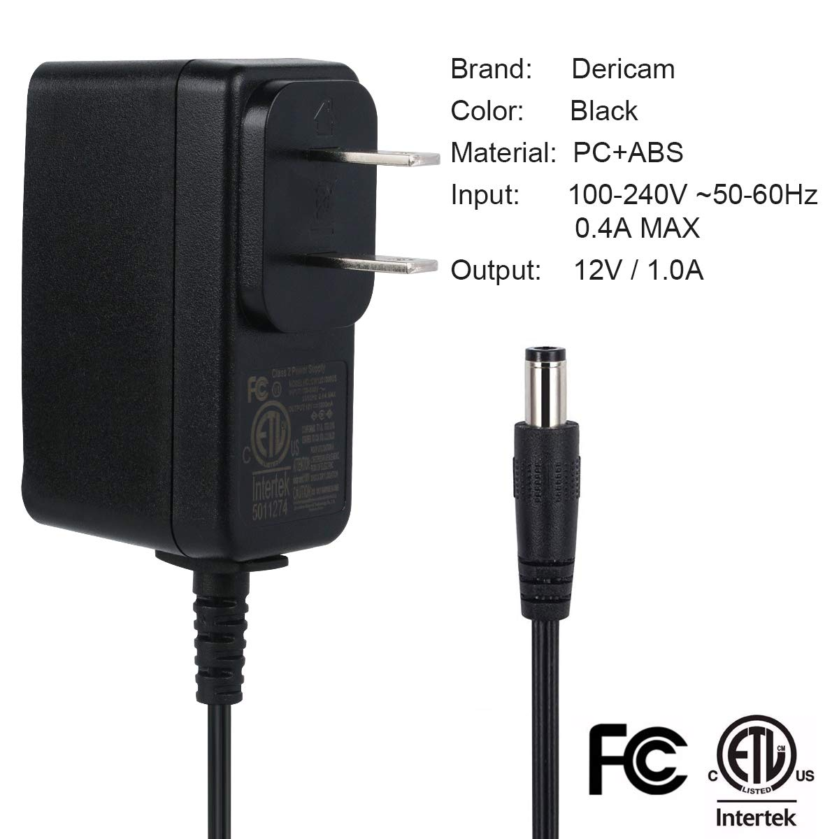 Black Dericam 12V 1A DC Power Supply Adapter for IP//CCTV Security Camera US Plug Input AC 100V-240V//50 or 60Hz//0.4A Max 5ft//1.5 Meter AC to DC Power Cord Output DC 12V 1000mA Wall Charger