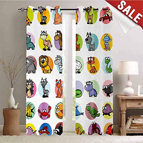 Xhilaration Dot - Hengshu Zoo Blackout Window Curtain Funny Cute Cartoon Style Animals Set Colorful Dots Doodle Jungle Life Kids Room Design Customized Curtains W72 x L84 Inch Multicolor