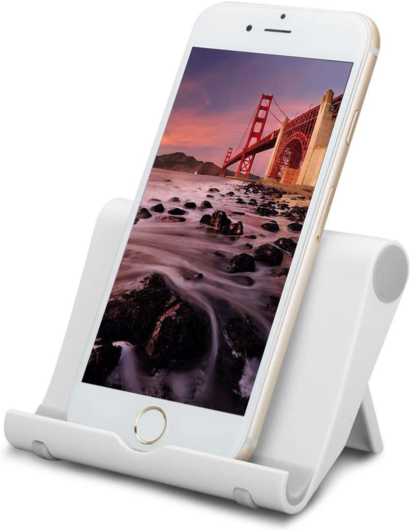 Mykit Multi-Angle iPad Stand, Universal Portable Durable Adjustable Holder for Tablets, E-readers and Smartphones Apple iPhone Samsung Galaxy/Tab HTC Google Nexus Pixel LG OnePlus and More (White)