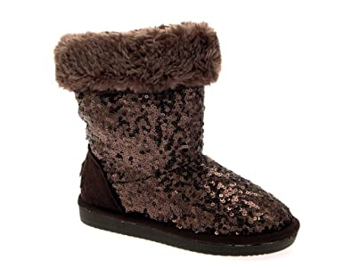 NEW LUXURY WOMENS GIRLS KIDS LADIES SEQUIN FUR LINED MID CALF BOOTS FAUX  SUEDE WARM WINTER 08103bae2