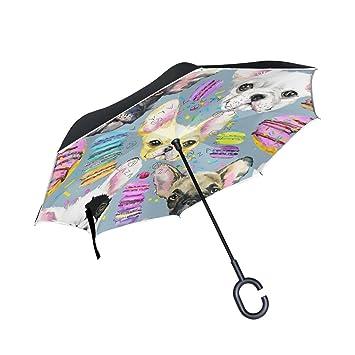 ALAZA francés Bulldog cachorro Inverted paraguas paraguas plegable de doble capa resistente al viento Reverse para