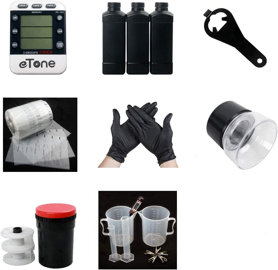 120 Color B&W Film Darkroom kit Processing Equipment Timer Clock Developing Tank Film Canister Opener Chemical Bottle