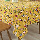 Tina Cotton Vintage Bird Floral Print Tablecloth Table Cover Machine Wasable for Kitchen Dining Living Room Yellow, 52x70'