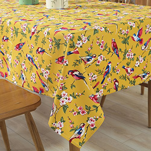 Tina Cotton Vintage Bird Floral Print Tablecloth Table Cover Machine Wasable for Kitchen Dining Living Room Yellow, 52x70