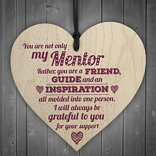 XLD Store Mentor Friend Teacher Midwife Nurse Tutor Plaque Leaving Gift Wood Heart Sign Thank You Present ()