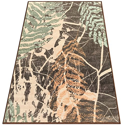 Silk & Sultans Agathe Collection Vintage Green Design, Pet Friendly, Non-Skid Area Rug with Rubber Backing,5'x7'Mocha