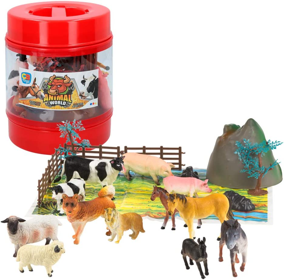 ColorBaby -  Bote con animales de granja de Animal World, 22 piezas(43434)