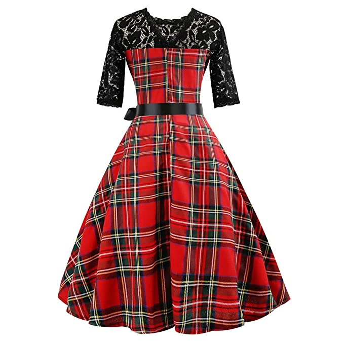 Women Dress Godathe Women Vintage HalfSleeveg Plaid Lace Patchwork Evening Party Prom Swing Dress S-2XL at Amazon Womens Clothing store: