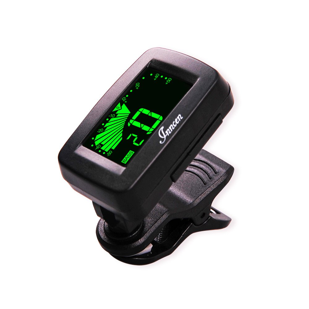 Inncen Clip on Tuner for Guitar Ukulele - Tuner for Ukulele - Bass Guitar Tuner - Violin Tuner with LCD Tuner (Battery Included)